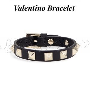 NWT's & BOX Valentino Black Leather Bracelet
